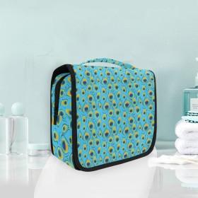 ピーコックフェザーアイぶら下げ折りたたみトイレタリー化粧品化粧バッグ旅行キットオーガナイザー収納ウォッシュバッグケース用女性女の子浴室