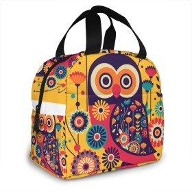 保冷バッグ エコバッグ ランチバッグ 買い物バッグ カラフル フクロウ 手提げバッグ おしゃれ 保冷保温