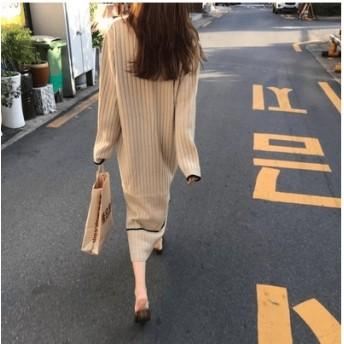 新作限定SALE! ロングワンピース リーブ ニットフリーサイズ ワンピース 大人気 おしゃれ 着痩せ 無地 韓国ファッション