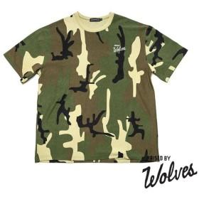 【RAISED BY WOLVES/レイズドバイウルブス】CAMO VARSITY T-SHIRT Tシャツ / WOODLAND CAMO
