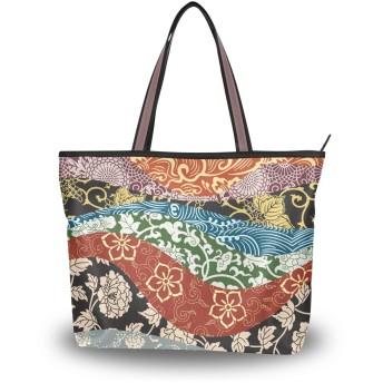 トートバッグ A4 大容量 キャンバス 通勤 通学 日本 和柄 和風 伝統的 レディース トート バッグ 軽量 おしゃれ ガールズ ショルダー ポケット付 Lサイズ 女子 学生 旅行 マザーズバッグ 女の子 ハンドバッグ