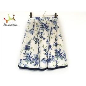ジャスグリッティー JUSGLITTY スカート サイズ0 XS レディース 美品 白×ネイビー×マルチ 花柄 新着 20191102