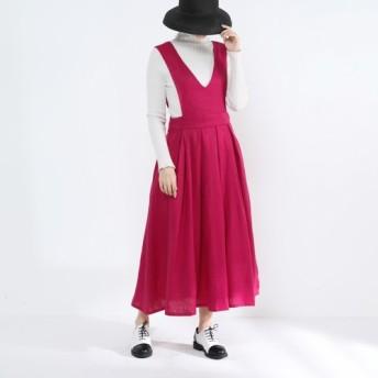 ジャンパースカート・タック・リネン100%・ピンク