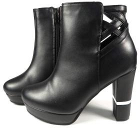 [マフモフ] ブーツ レディース ショート BLACK 切替ヒール ブラック ホワイト ブラウン LL ブラック・PU