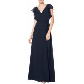 レヴコフ #LEVKOFF レディース パーティードレス イブニングドレス ラップドレス ワンピース・ドレス ruffle sleeve chiffon wrap evenin