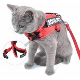 [新品]SEHOO猫リード ハーネス 可愛い 抜けにくい 小型犬  胴輪 猫用胸当て 散歩用 安全 子猫 反射テープ(M)