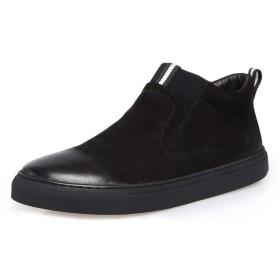 [IRJMJJ] メンズ ショートブーツ 焦がし加工 サイドゴア スリッポンタイプ ビジネス ワーク 黒 レインシューズ レザー ショット丈 履きやすい ブラック 軽量 カジュアルシューズ 防寒 防滑 アウトドア 紳士靴 フラット 24.5~27cm