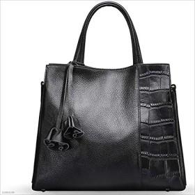 レディーバッグヘッダー乾癬ショルダーストーングレインレザーバッグメッセンジャーバッグシンプルなスタイルデザイン (BLACK)