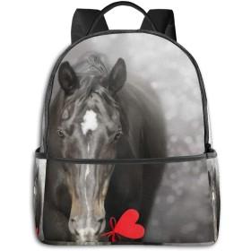 リュック 心で黒い馬 バックパック メンズ レディース スクールバッグ 軽量 おしゃれ 通学 大容量 旅行 プレゼント 防水 リュックサック