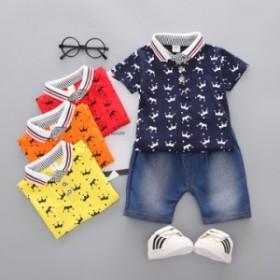 男の子の襟は純綿の爆発式のクラウンpoloシャツの2つのスーツの赤ちゃんの半袖のTシャツのジーンズの子供服の卸売りを越えます