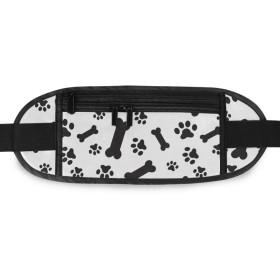 ウエストバッグ ウエストポーチ ヒップバッグ 斜め掛けバッグ 収納バッグ ランニング 多機能 スポーツ 猫 犬 足跡 オックスフォード布 サイクリング アウトドア メンズ レディース兼用