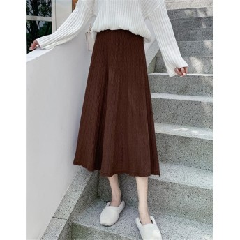 [55555SHOP] ★2019秋冬新作★全4色!マキシ丈ニットフレアスカート ニットのロングスカートで、秋冬も可愛く スカート