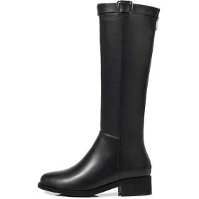 [シュウカ] ブーツ レディース ロングブーツ ヒール ジョッキーブーツ 疲れない ブラック ブーツ 大きいサイズ ワイズ 黒 黒(裏ボア) 美脚 インヒール 痛くない 23.0cm 歩きやすい レディースブーツ ぺたんこ 歩きやすい レディースブーツ 歩きやすい