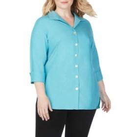 フォックスクロフト FOXCROFT レディース チュニック トップス pandora non-iron tunic shirt Blue Spruce