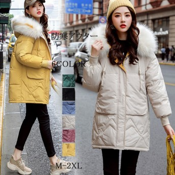 2019冬の新商品のダウンジャケットはゆったりしていて、厚い大毛の襟のパン服と綿入れの上着の中の長いタイプの綿の服の女性です。