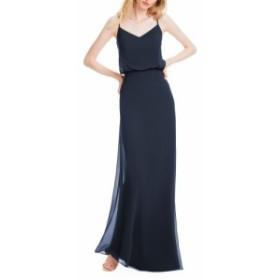 レヴコフ #LEVKOFF レディース パーティードレス ワンピース・ドレス spaghetti strap chiffon gown Navy