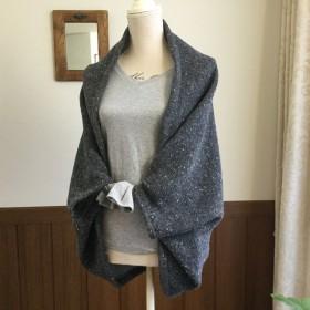 国産ウールニット羽織り サンドグレー