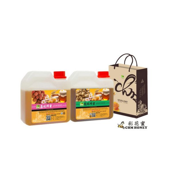 《彩花蜜》台灣嚴選-荔枝蜂蜜1200g+ 龍眼蜂蜜1200g
