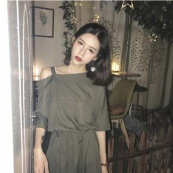 韓国 ファッション ワンピース  大きいサイズ ブラック ワンショルダー フレア ワンピース ロング モード系 ウエストリボン 膝丈 ミモレ