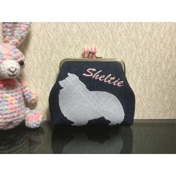 【トリーツポーチ】シェルティ 刺繍 ピンクボーダー