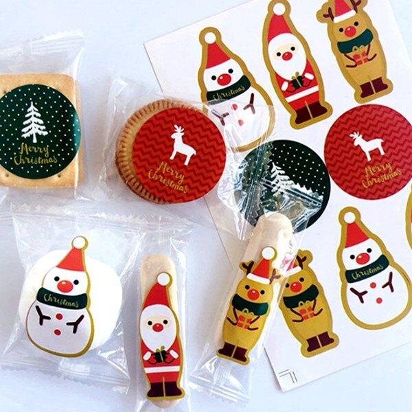 聖誕節金邊老人麋鹿拿禮物貼紙(8枚入)【BlueCat】【XM0249】