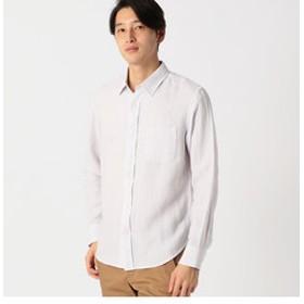 【COMME CA ISM:トップス】リネンコットン 変形パナマメッシュシャツ