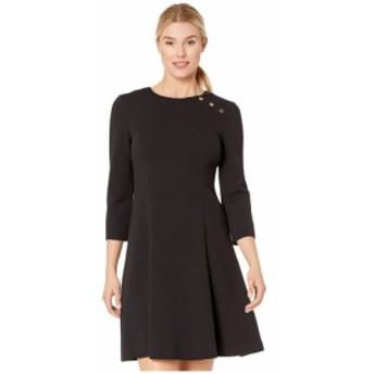 ロンドンタイムス London Times レディース ワンピース ワンピース・ドレス fit-and-flare dress with buttons Black