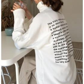3色 バックプリント 英字 ロゴ ゆったり ハイネック シンプル カットソー ロンT ロングTシャツ お出かけ デート 秋冬