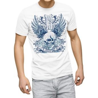 igsticker プリント Tシャツ メンズ L size おしゃれ クルーネック 白 ホワイト t-shirt 005345 ラグジュアリー クール ドクロ 骸骨 羽根 翼