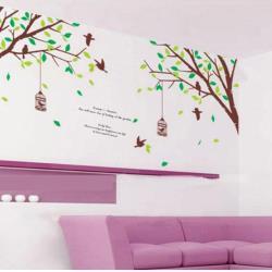 【半島良品】DIY無痕創意牆貼/壁貼-樹木鳥籠 AY205雙拼