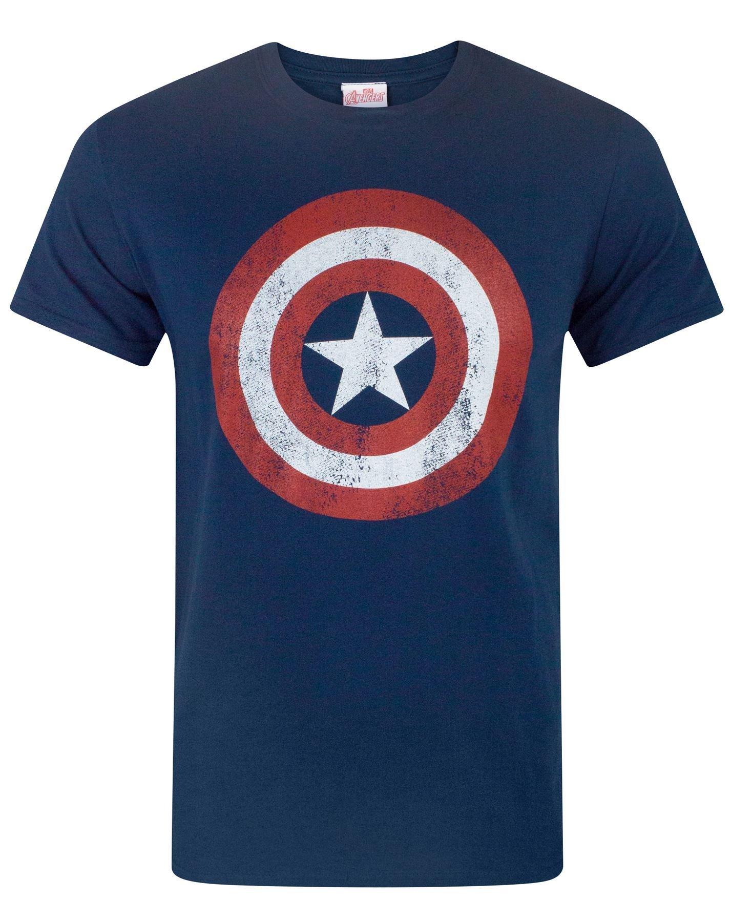 5XL Licensed Marvel Comics Captain America Distressed Shield Mens T-Shirt S