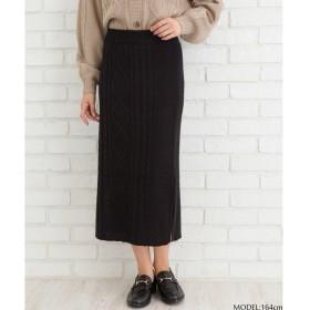 SpRay ケーブルニットタイトスカート ブラック M レディース 5,000円(税抜)以上購入で送料無料 タイトスカート 夏 レディースファッション アパレル 通販 大きいサイズ コーデ 安い おしゃれ お洒落 20代 30代 40代 50代 女性 スカート
