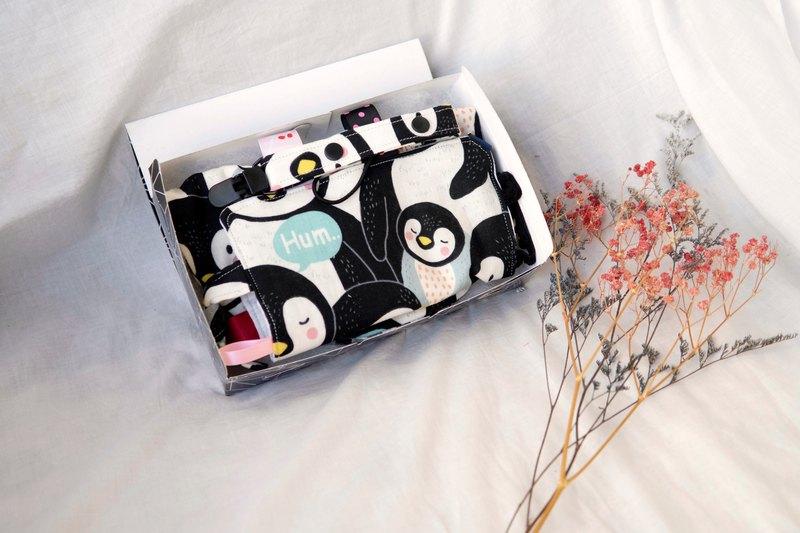 彌月禮盒 | 八重紗口水巾、安撫巾、奶嘴夾 | 企鵝來了