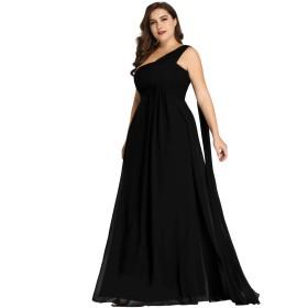 Ever Pretty レディース ワンショルダー 袖なし スリムライン リボン付き マキシ丈 シンプルシフォン パーティー 結婚式 ロングドレス 大きいサイズ09816