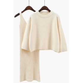 【Pandashop】 の韓国版 ゆったり セーターセット 女性 ファッション 2点セット スカート 秋冬 純色 学院風 ニット 婦人服 (ピンク)