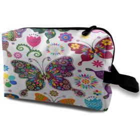 パターンカラフルな蝶と花 化粧品袋 トラベルコスメティックバッグ 防水 大容量 荷物タグ付き 旅行収納ポーチ アレンジケース パッキングオーガナイザー 出張 旅行 衣類収納袋 スーツケース整理 インナーバッグ メッシュポーチ 収納ポーチ