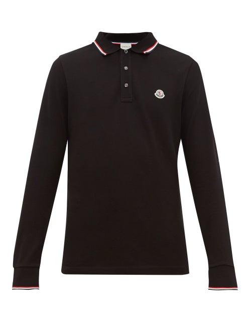 Moncler - Logo-appliqué Long-sleeved Cotton Polo Shirt - Mens - Black