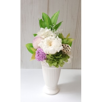 プリザーブドのお供え花*ホワイト&ラベンダー