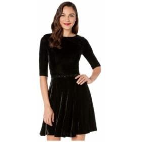 ユニークヴィンテージ Unique Vintage レディース ワンピース ワンピース・ドレス velvet 1/2 sleeve fit-and-flare dress Black