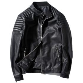 Minghe ライダース ジャケット メンズ 革ジャン 肩ステッチ PU レザー ブラック 3XL