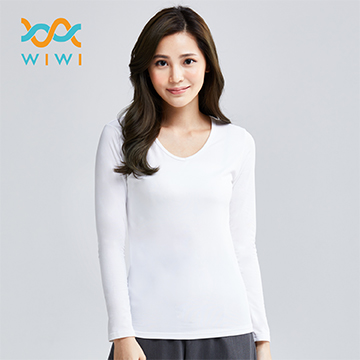 【WIWI】MIT溫灸刷毛V領發熱衣(純淨白 女)