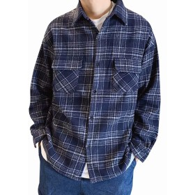 [YACORESYA(夜行列車)] ジャケット メンズ チェック柄 ラシャコート 長袖シャツ 厚手 ギンガム ボタンアップ アウター 大きいサイズ カジュアル 春 秋 冬 防寒ストリート
