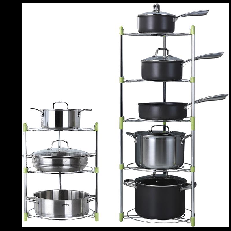 現貨免運【可調高度】廚房用品鍋架 鍋具收納 廚房收納架 鍋子收納 鍋架子多層置物架 【AAA3656】