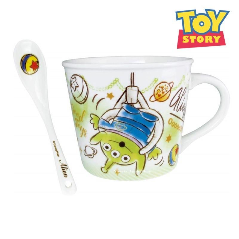 迪士尼【日本限定 迪士尼】 玩具總動員 三眼怪 繪圖風 茶匙 馬克杯套組
