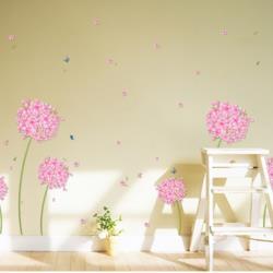 【半島良品】DIY無痕創意牆貼/粉紅花蒲公英 XL7027-50x70 粉色繡球花