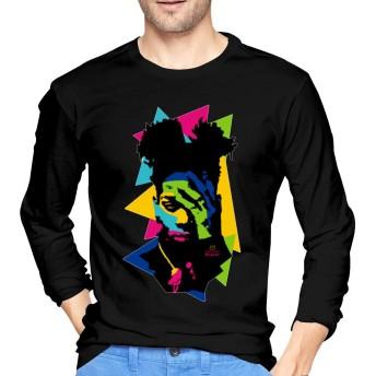 バスキア襟メンズカスタムTシャツファッション長袖シャツブラックXL