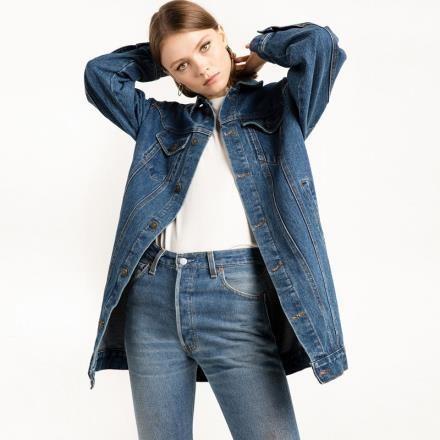 《D'Fina 時尚女裝》經典復古 帥氣男友風OVERSIZE牛仔外套
