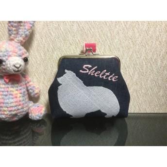 【トリーツポーチ】シェルティ 刺繍 ピンクフラッグ