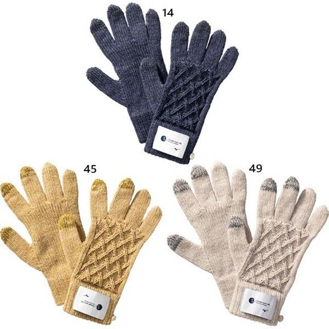 ミズノ レディース ブレスサーモニットグローブ 手袋 グローブ アウトドア スマホ対応 B2JY9701