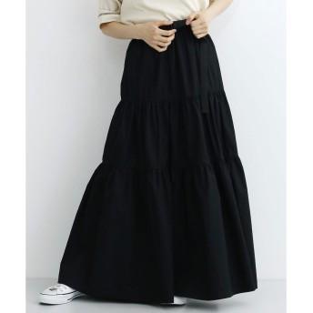 メルロー merlot ベルト付コットンティアードスカート (ブラック)